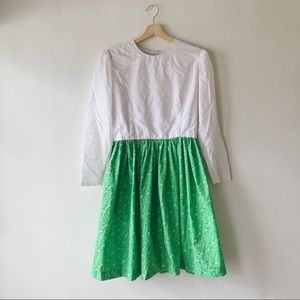 Vintage White Eyelet and Floral Pattern Dress